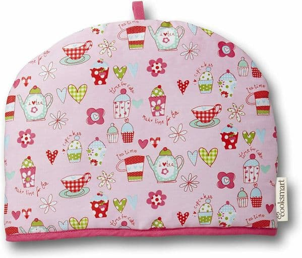 Cotton Tea Cosy Teapot Cover Cupcake style Pink  Tea cosy by cooksmart - 154160003768